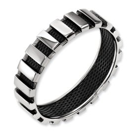 Genuine IceCarats Designer Jewelry Gift Titanium Black Wire 6Mm Polished Band Size 10.00