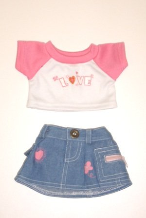"Love T-Shirt & Jean Skirt Clothing Fits 8""-10"" Most Webkinz, Shining Star And 8""-10"" Make Your Own Stuffed Animals And Build-A-Bear front-1000284"