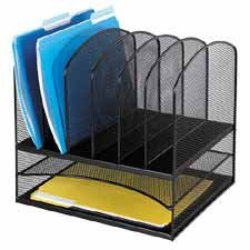 Buy Safco 3255BL Mesh Desk Organizer, Two Horizontal/Six Upright Sections, Black