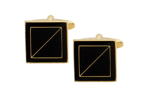 Code Red Gold Plated Square Cufflinks with Black Enamel