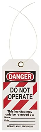 "Brady High-Visibility ""Danger"" Tag, Cardstock, 5-3/4"" Height, 3"" Width"