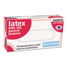 Disposable General Purpose Natural Rubber Latex Gloves, Powdered, Med, 100/Box front-733136