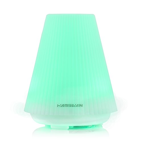 [Christmas Gift] HAMSWAN Essential Oil Diffuser 100ml Aromatherapy Humidifier Diffuser Color Changing LED Light 3-Hour Timer Auto Shut off for Bedroom Living Room Child's Room Spa Yoga Office (Mister Eden compare prices)