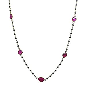9.00 CTW 14K Yellow Gold Necklace with Black Diamond Rosary Beads and Ruby Slices