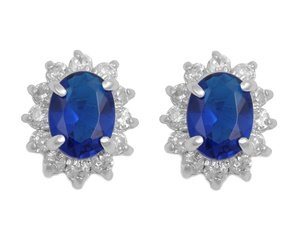 Sterling Silver Earring with Blue Topaz and Clear CZ Stones