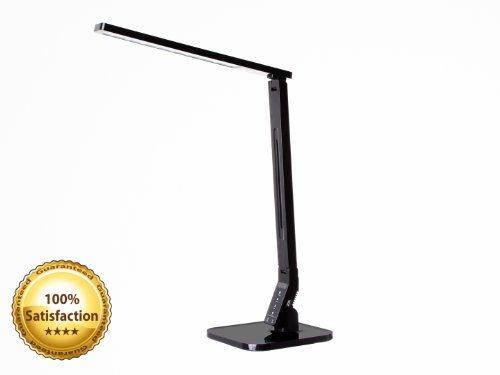 Smart LED Desk Lamp with Touch Control Dimmable Lighting, 1 Hour Off Timer & Smart Phone Charging Port (Black)