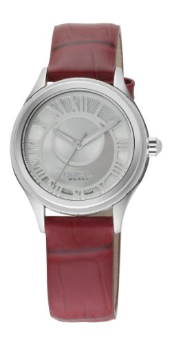 Breil Milano 939 Women's Quartz Watch with Silver Dial Analogue Display and Red Leather Strap BW0570