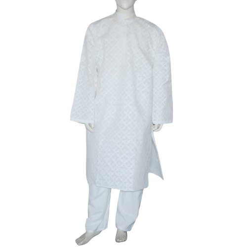 Indian Kurta Pajama Cotton Embroidered Summer Clothing Chest : 122 Cms(Size XL/48