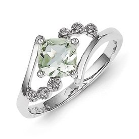 Genuine IceCarats Designer Jewelry Gift Sterling Silver Princess-Cut Green Amethyst & Diamond Ring Size 6.00