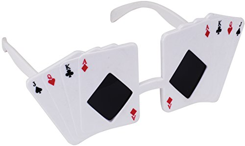 Loftus International Star Power Poker Themed Jack Queen King Ace Sunglasses, White, One Size - 1