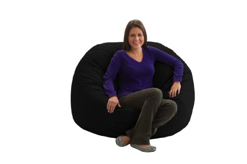 Comfort Research Fuf Large Foam Bean Bag Chair, Black Twill
