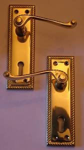 Solid Polished Brass Georgian Scroll Bathroom Door Handles by OriginalForgery