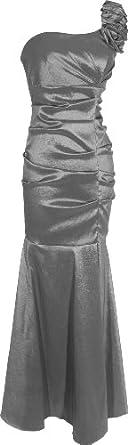 One-Shoulder Trumpet Taffeta Long Prom Dress Bridesmaid Gown, XS, Charcoal