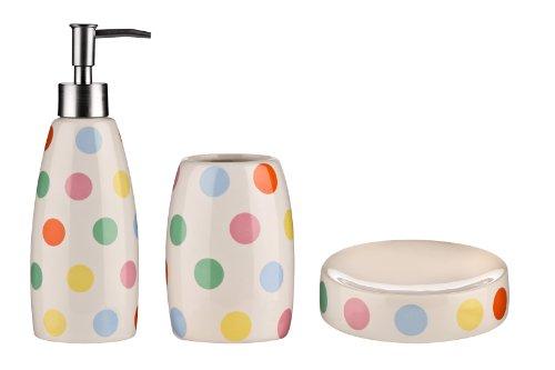 Premier Housewares Dotty Bathroom Set, 3-Piece, Stoneware