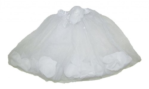 Hairbows Unlimited Girls' Rose Petal Filled Dance Tutu One Size White front-694606