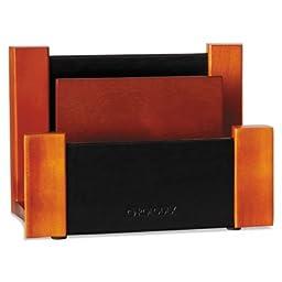 Desktop Sorter, Wood/Faux Leather, 6 5/8 x 3 2/3 x 4 3/4, Black/Mahogany, Sold as 1 Each