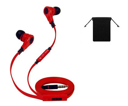 Premium Stereo Handsfree Headset Earbuds Earphones With Mic For Samsung Galaxy Note Ii/ 2/ S4/ S 4/ S3 (Red/ Black) W/ Anti-Tangle Flat Wire + Carry Bag