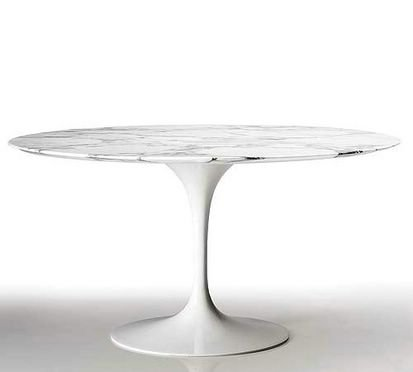 "32"" Eero Saarinen Style Tulip Dining Table with White Marble Top"