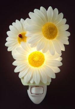 Ladybug on Daisies Nightlight - Ibis and Orchid Flowers of Light Night Light Collection