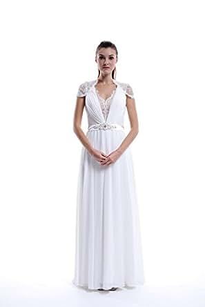 Vampal Long White Chiffon V Neck Cap Sleeve Prom Dress