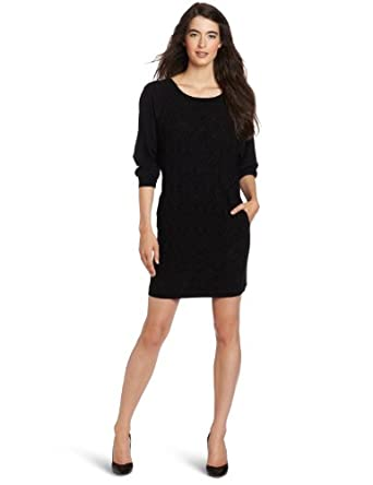 Cluny Women's Lace Front Sweater Dress, Black, Small