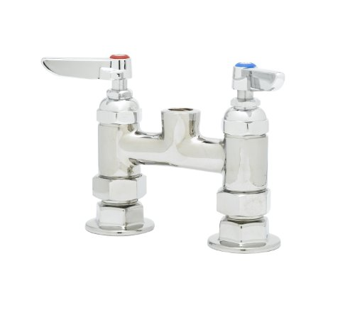 T&S Brass B-0326-LN-SC 4-Inch Deck Mount Faucet with Spring Check Cartridges and Less Nozzle