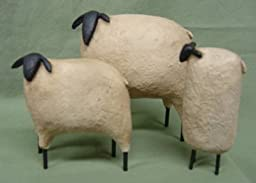 Sheep - Black Faced 3 Piece Set - Primitive Country Home Decor