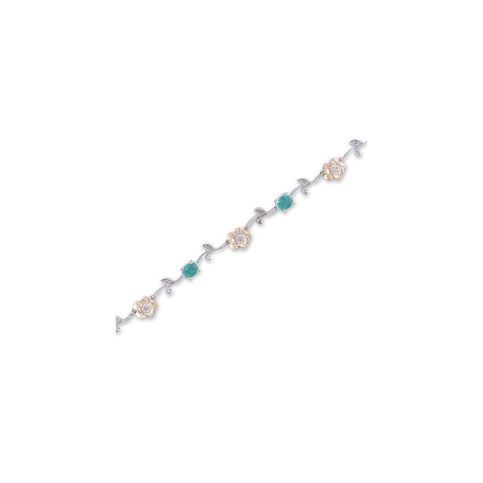 14K Two Tone Gold Diamond and Emerald Bracelet