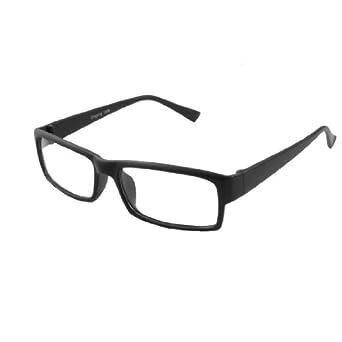 Unisex Plastic Frame Arms Clear Rectangle Lens Plain Glasses Black