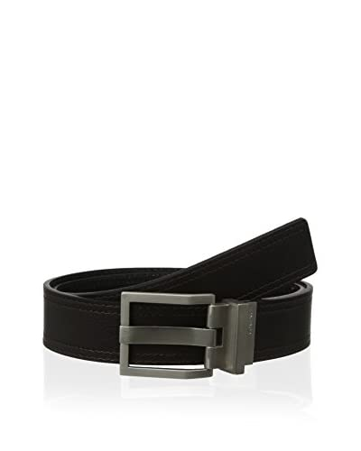 Calvin Klein Men's Harness with Wide Prong and Engraved Logo 35mm Reversible Flat Strap Belt