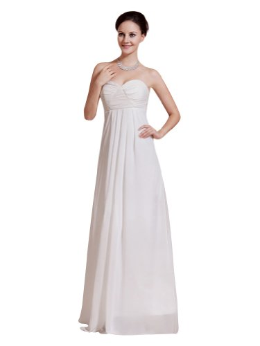 Remedios Boutique Sweetheart Chiffon Empire Bridesmaid Special Occasion Formal Dress, White, S4