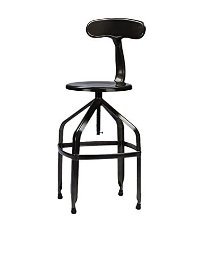 Baxton Studio Architect's Industrial Bar Stool with Backrest, Gun Metal