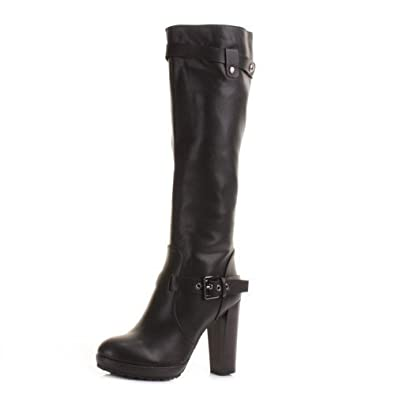 Womens Black High Heeled Knee High Boots SIZE 8