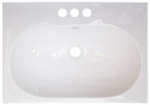 American Imaginations 423 26-Inch by 18-Inch White Ceramic Top with 4-Inch Centers