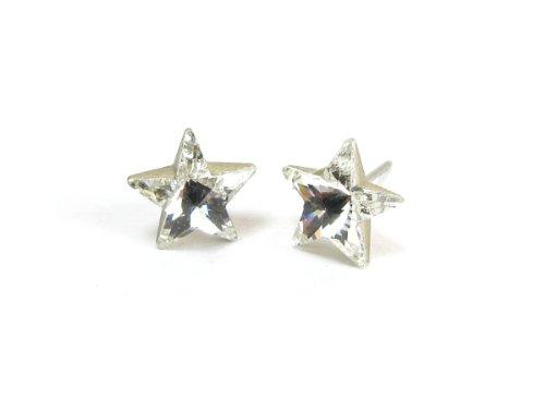 Crystal Star Shape Swarovski Austrian Crystal Earrings, 10mm