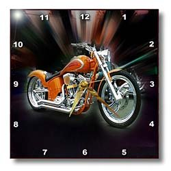 Florene Transportation - Orange Harley Davidson Motorcycle - Wall Clocks - 10x10 Wall Clock