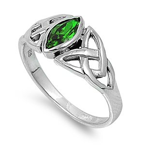 Wicca Pagan Triquetra Emerald Cz Ring 9Mm Sterling Silver 925 Size 7