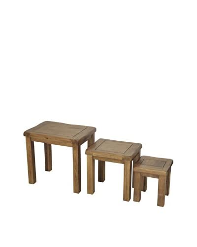 Gallerie Décor Oakdale Set of 3 Nesting Tables, Natural Oak