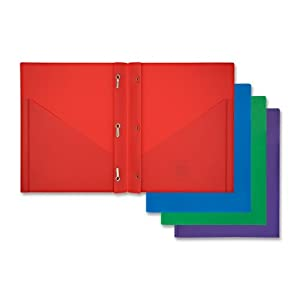 "Mead Color Talk Pocket Portfolio - 9.25"" x 11.5"" - 3 Fastener - 0.25"" Capacity - 1 / Pack - Assorted"
