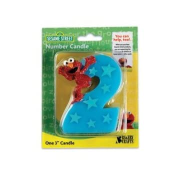 One 2.25 inch x 3 inch Sesame Street Number 2 Elmo Candle. This is the perfect candle to use at your child's Elmo themed 2nd birthday party. The candle is blue with blue stars and Elmo standing on top of the number 2 ready to slide down.