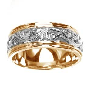 Amazon.com: Women's 14k Two-Tone Gold Engraved Carved