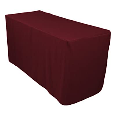 LinenTablecloth 4 ft. Fitted Polyester Tablecloth Burgundy