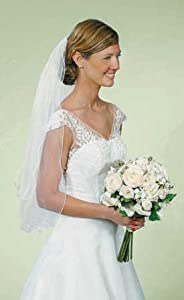 Double Layer Curly Edge White Wedding Veil with Hair Comb - Lesbian Wedding Accessory