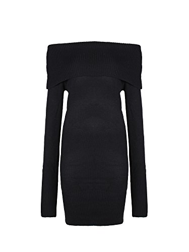 Womens Sexy Off Shoulder Long Sleeve Mini Pencil Bodycon Knitted Sweater Dress (Black) Free Size