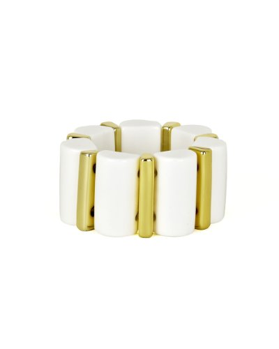 Stretch Bracelet in Art Deco-Inspired Scalloped Resin