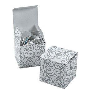 2 Dozen Silver Swirl Mini Gift Boxes swirl s71