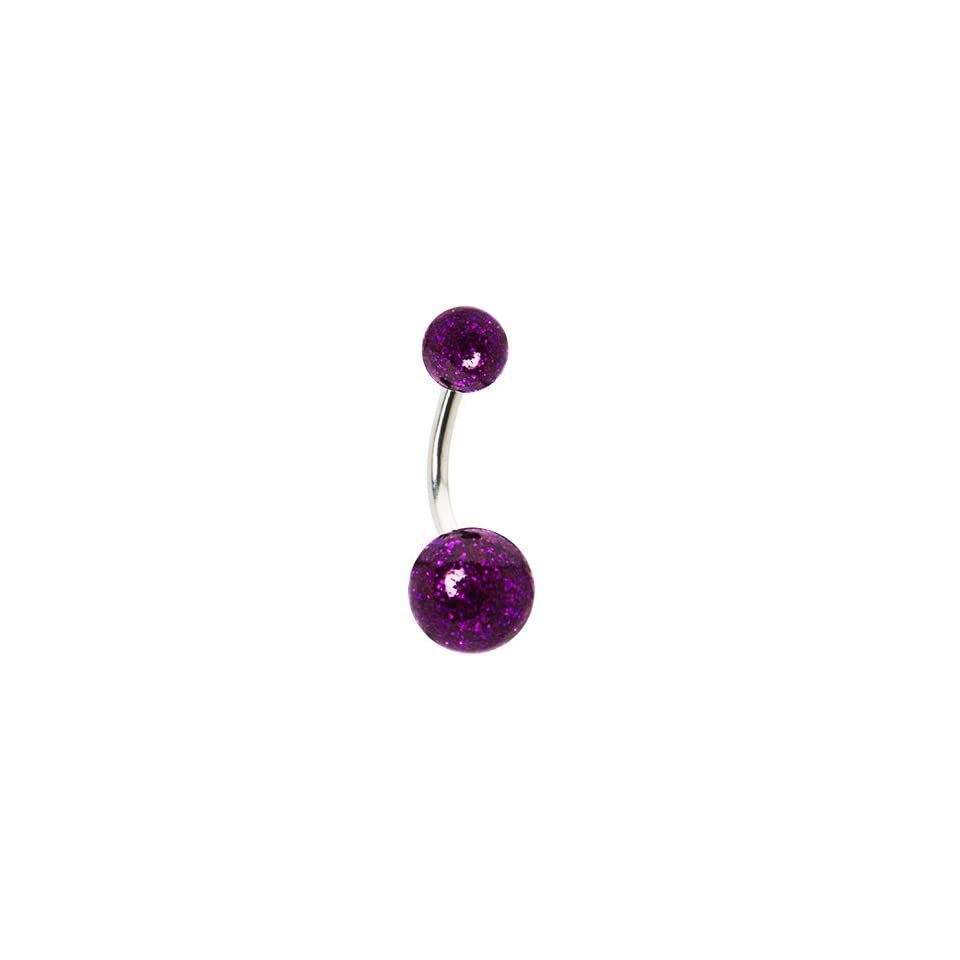 Purple Ultra Glitter Acrylic Belly Ring Jewelry