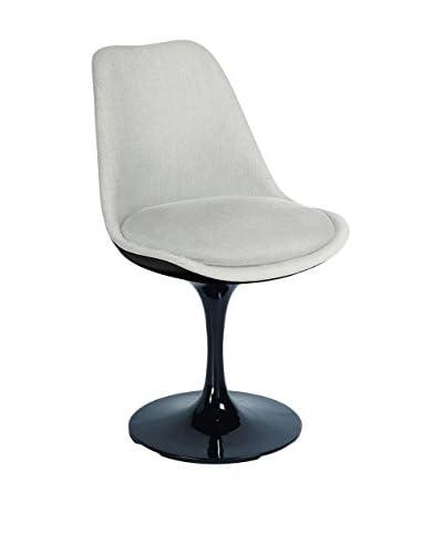 Macer Home Tulip Side Chair Upholstered, Black/Beige