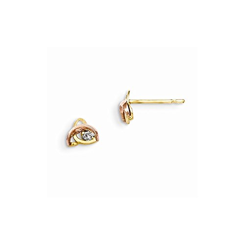 Top 10 Jewelry Gift 14K Yellow & Rose Gold Madi K Cz Children'S Post Earrings