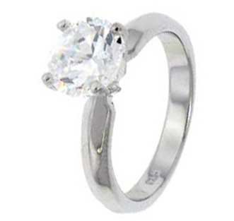 Sterling Silver Engagement Ring With Round Cubic Zirconia In Classic Solitaire Setting